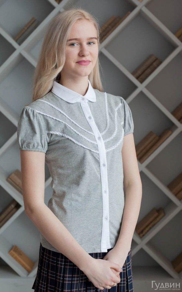 Блузка 1755 серый трикотаж