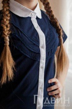 Блузка 1755 синий трикотаж