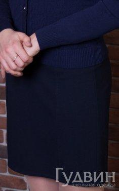 Юбка карандаш прямая синяя