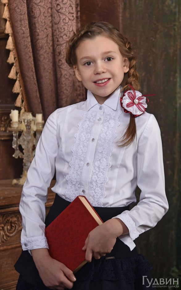 Блузка 0121 Дипломат с белым кружевом