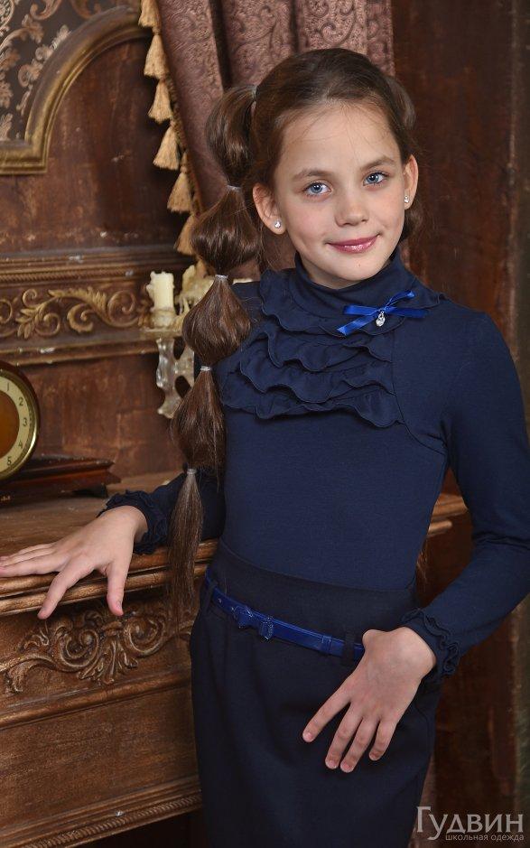Блузка 7130 Гламур дл. рукав трикотаж синяя