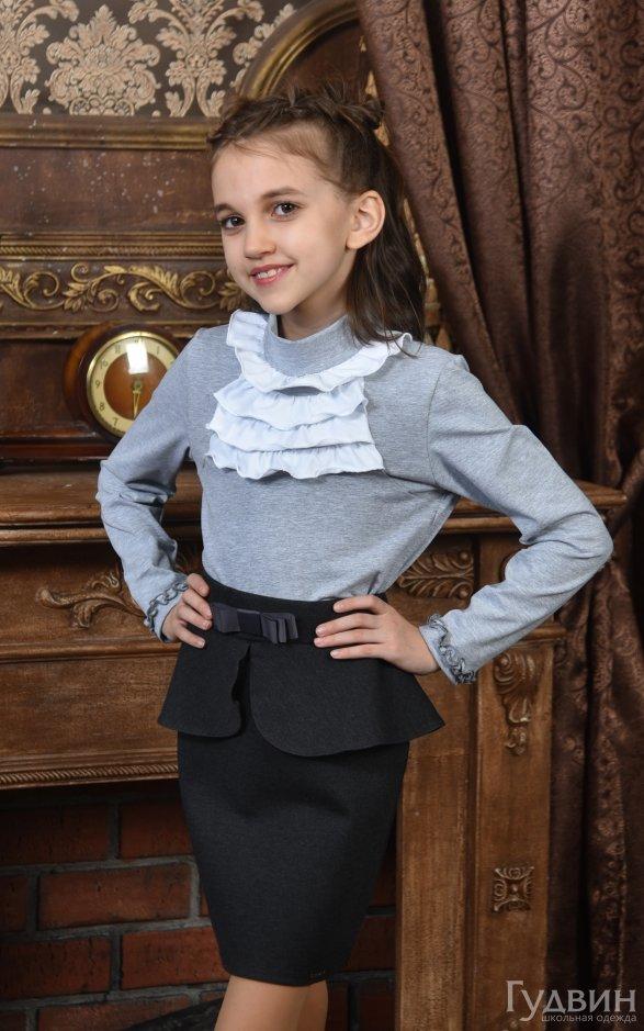 Блузка 7130 Гламур дл. рукав трикотаж серая