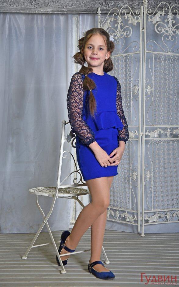 Платье 8005 с баской  васильковое