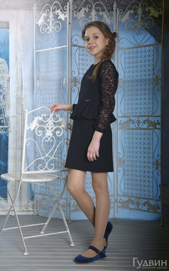 Платье 8005 с баской чёрное