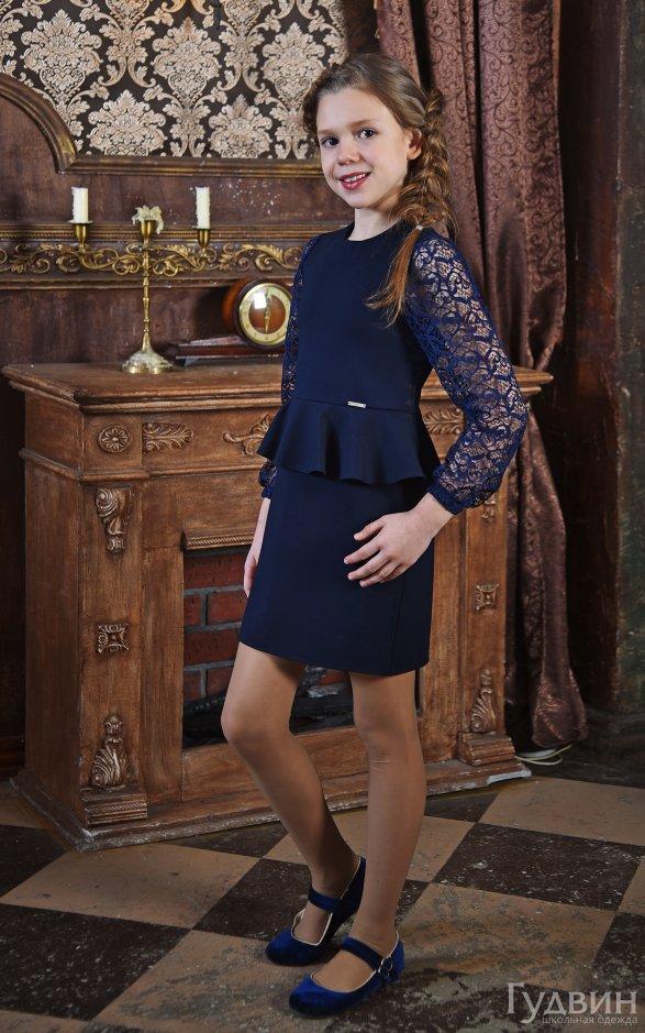 Платье 8005 с баской синее