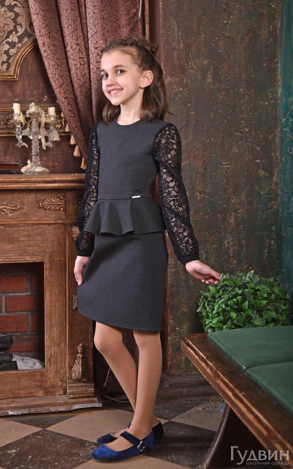 Платье 8005 с баской серый