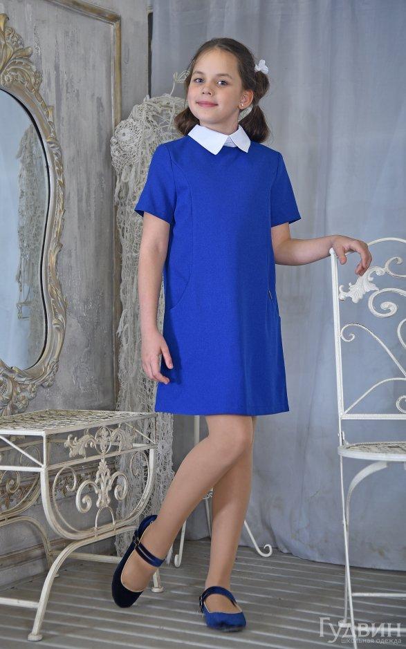 Платье 8220 короткий рукав  васильковый