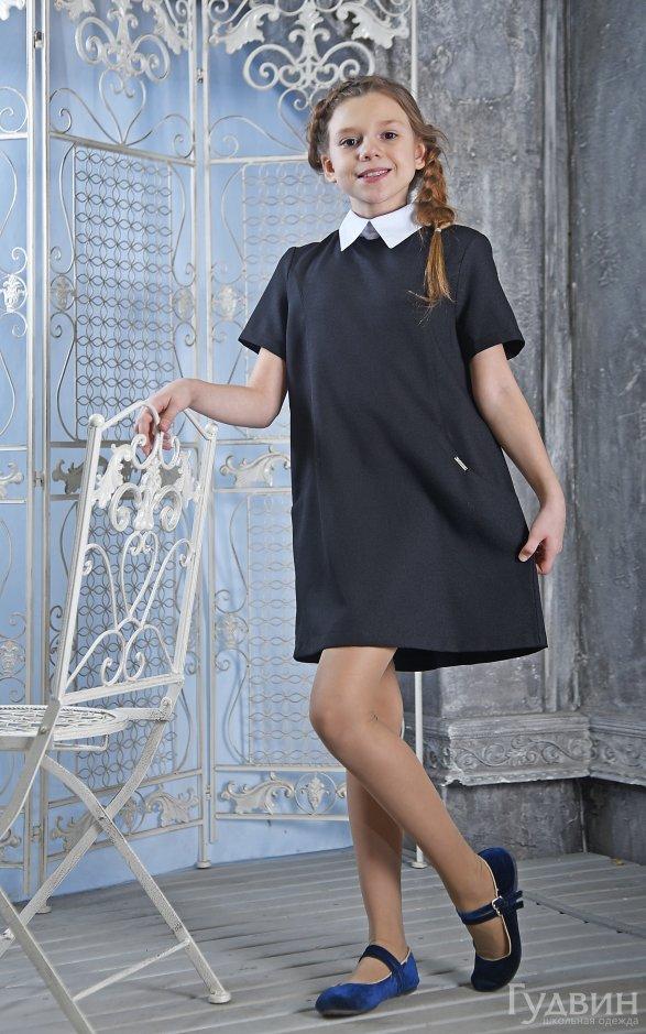Платье 8220 короткий рукав чёрное