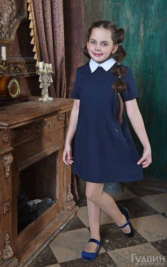 Платье 8220 короткий рукав синий